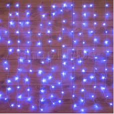 """Гирлянда """"Светодиодный Дождь"""" 1,5х1,5м, свечение с динамикой, прозрачный провод, 220В, диоды СИНИЕ"""