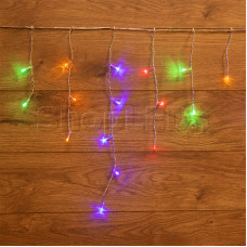 Гирлянда Айсикл (бахрома) светодиодный, 1,8 х 0,5 м, прозрачный провод, 220 В, диоды МУЛЬТИКОЛОР