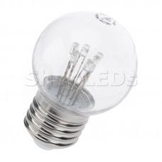 Лампа шар e27 6 LED ∅45мм - тепло-белая, прозрачная колба, эффект лампы накаливания